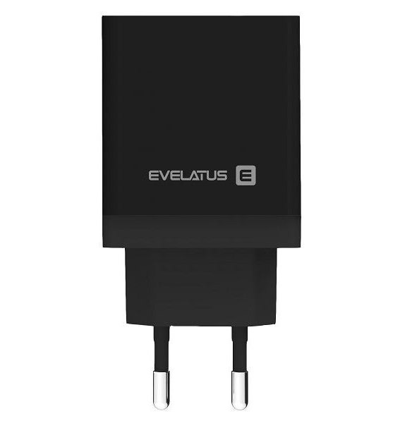 Evelatus ETC04 Αντάπτορας ταξιδίου USB 2.4A + Type-C 3A 30W Power Delivery μαύρο | cooee.gr6