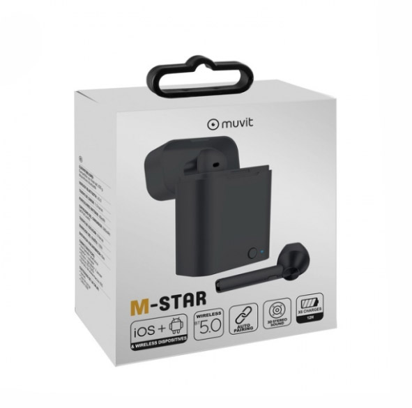 MUVIT M-STAR TWS BLUETOOTH WIRELESS STEREO HANDSFREE + CHARGING BOX black | cooee.gr4