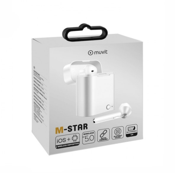 MUVIT M-STAR TWS BLUETOOTH WIRELESS STEREO HANDSFREE + CHARGING BOX white | cooee.gr4