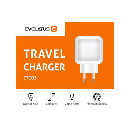 <p>Evelatus ETC03 <strong>Αντάπτορας ταξιδίου 2 θύρες USB 3.4Α</strong> μαύρο</p> | cooee.gr4